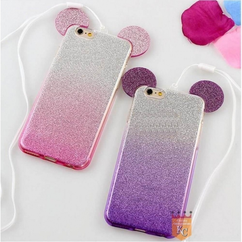 release date bea90 1eda8 Cute Ears Gradient Glitter 2 in 1 Transparent Soft Back Cover for ...